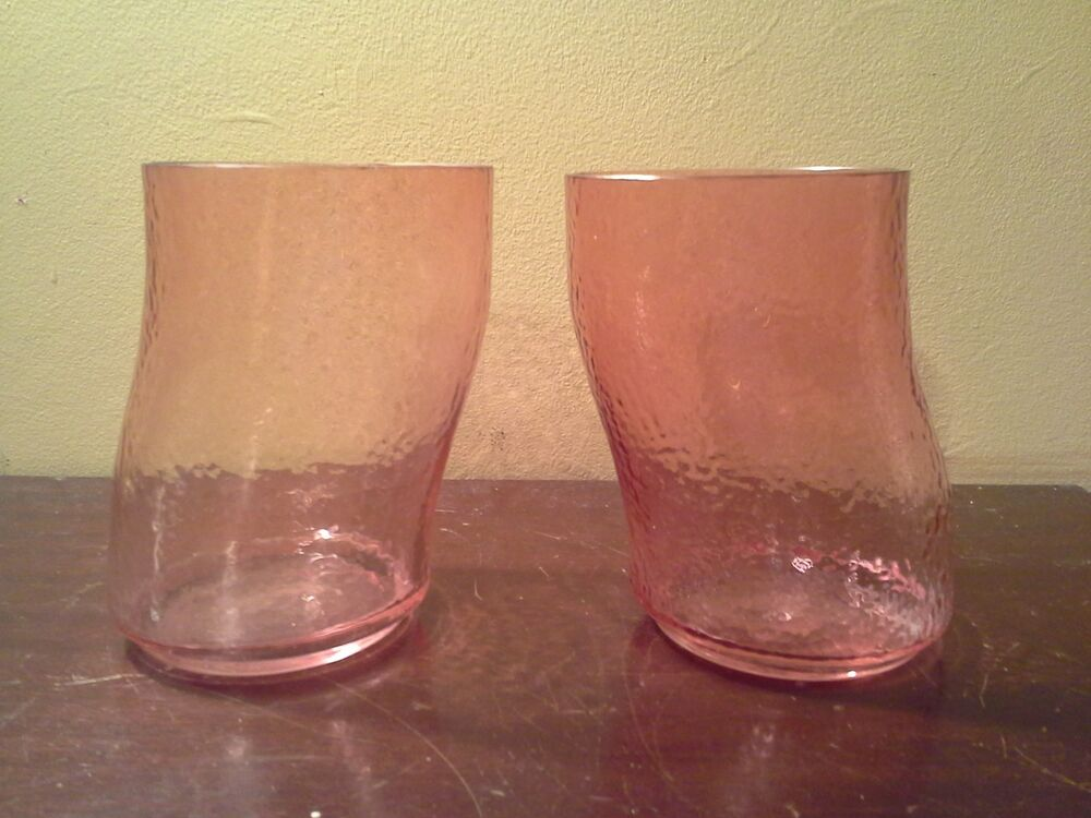 Pink set of 2 juice whiskey spirit glass tumblers unique Unusual drinking glasses uk