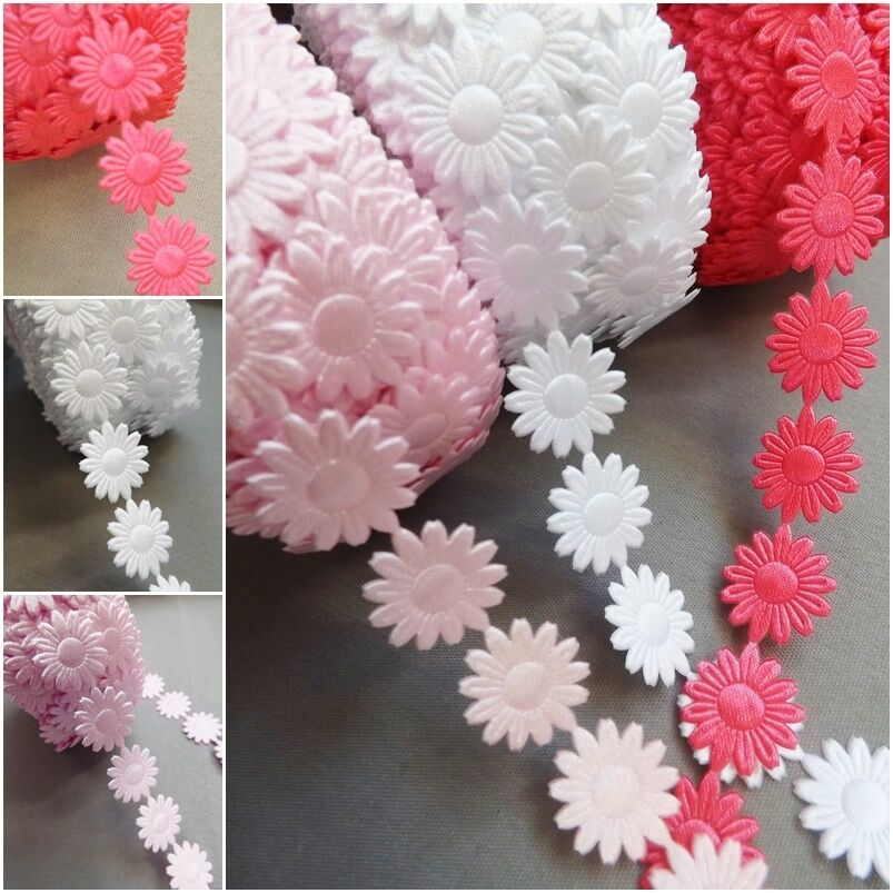 Daisy flowers trim satin lace ribbon crafts scrapbook for Craft ribbons and trims