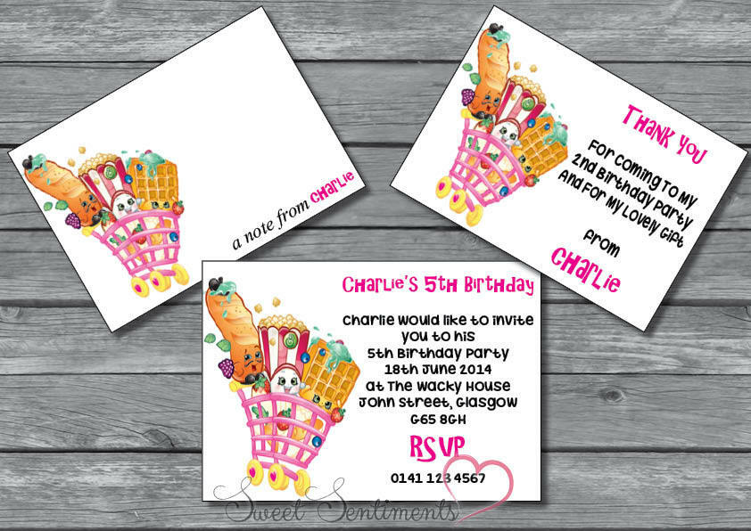 Shopkins Personalised Birthday Party Invite / Thanks Card / Note12 ...