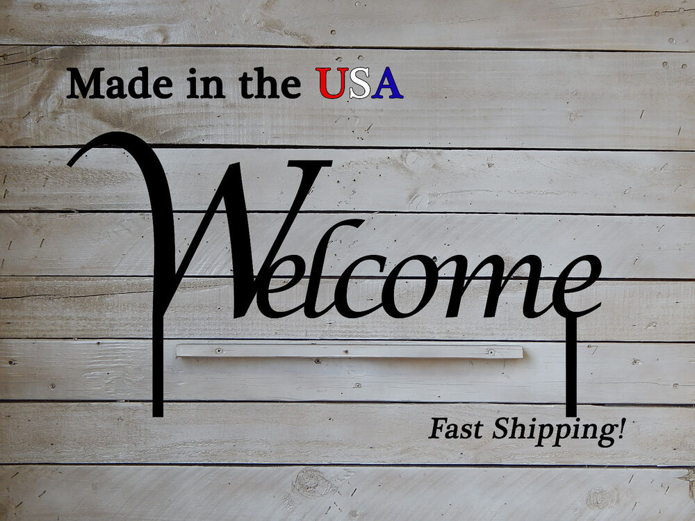 Welcome lawn sign metal art metal sign outdoor sign for Outdoor decorative signs