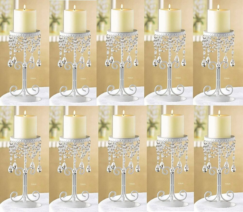 Ivory crystal beaded elegant pillar candle holder
