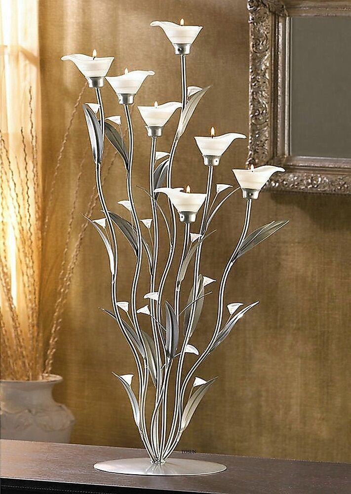 Silver calla lilies tealight candelabra centerpiece candle for Tall candle centerpieces
