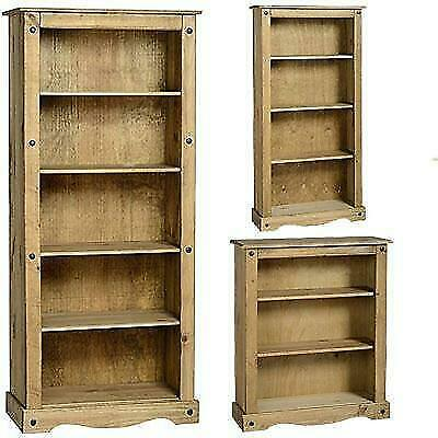 Corona bookcase solid pine wood waxed rustic finish unit
