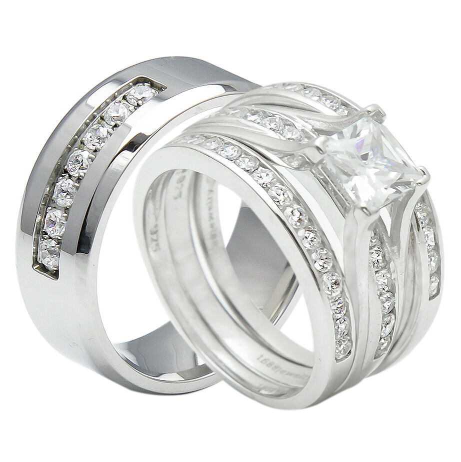 4PCS His And Hers Titanium 925 Sterling Silver Wedding Bridal Matching Ring S