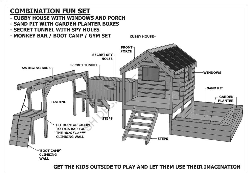 Cubby play house sand pit tunnel play gym combo for New build house plans