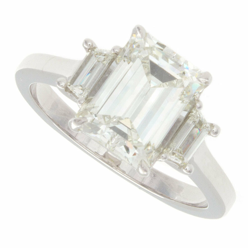 2 30ct Three Stone Emerald Cut With Trapezoids Diamond Engagement Ring