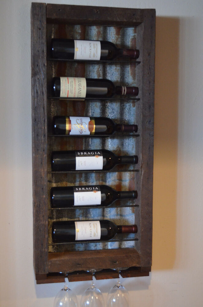 barnwood wine rack 6 bottle barn wood with tin backing wine rack ebay 1489