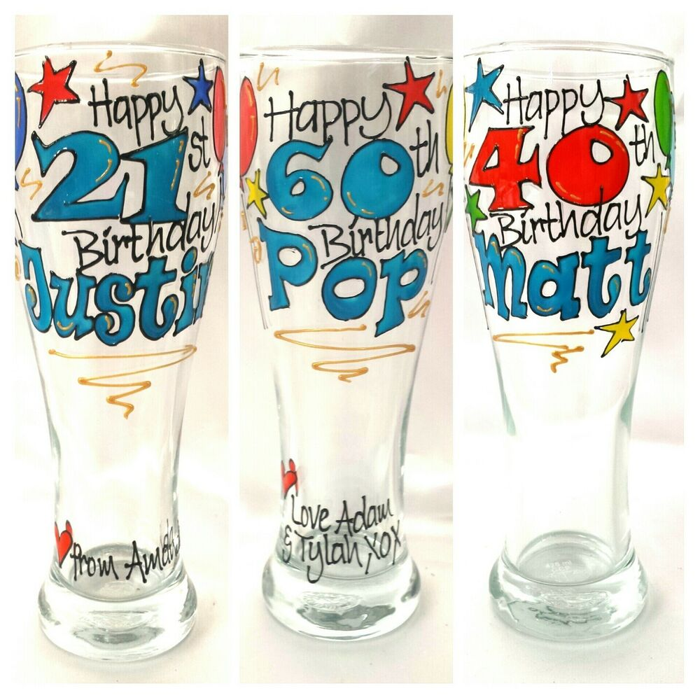 Personalised Hand Painted Beer Glass Birthday Gift 18th ...