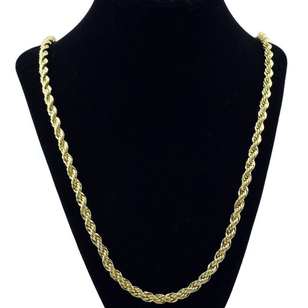 Rope Chain 5mm 14k Gold Plated Twisted Braided Mens Hip