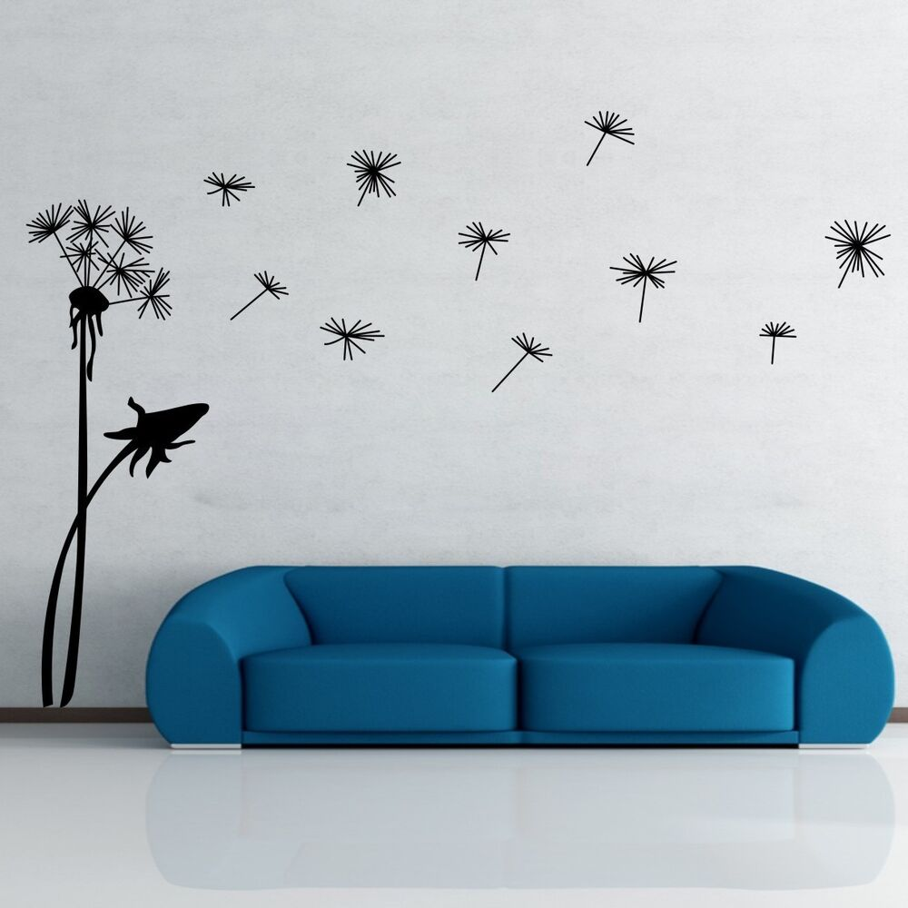 dandelion flower removable wall art decal vinyl stickers. Black Bedroom Furniture Sets. Home Design Ideas