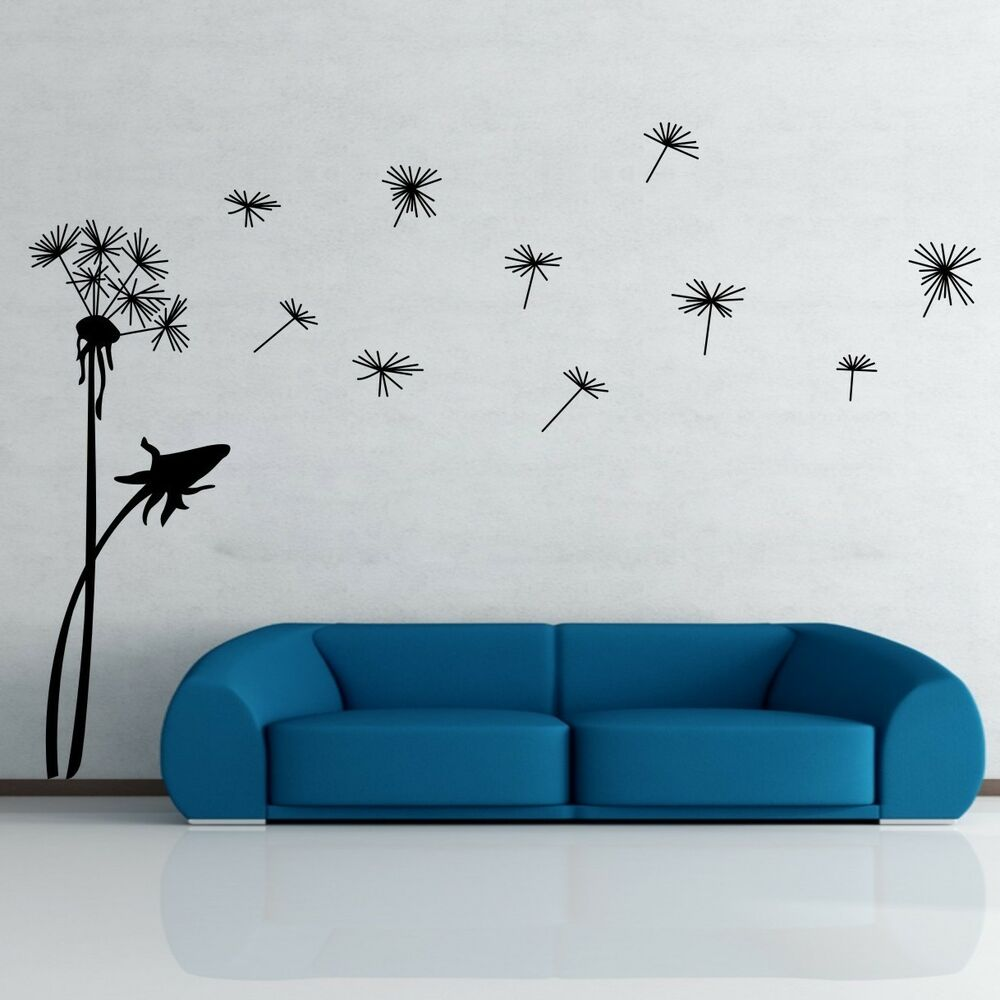 Wall Art Decals For Living Room: Dandelion Flower Removable Wall Art Decal Vinyl Stickers