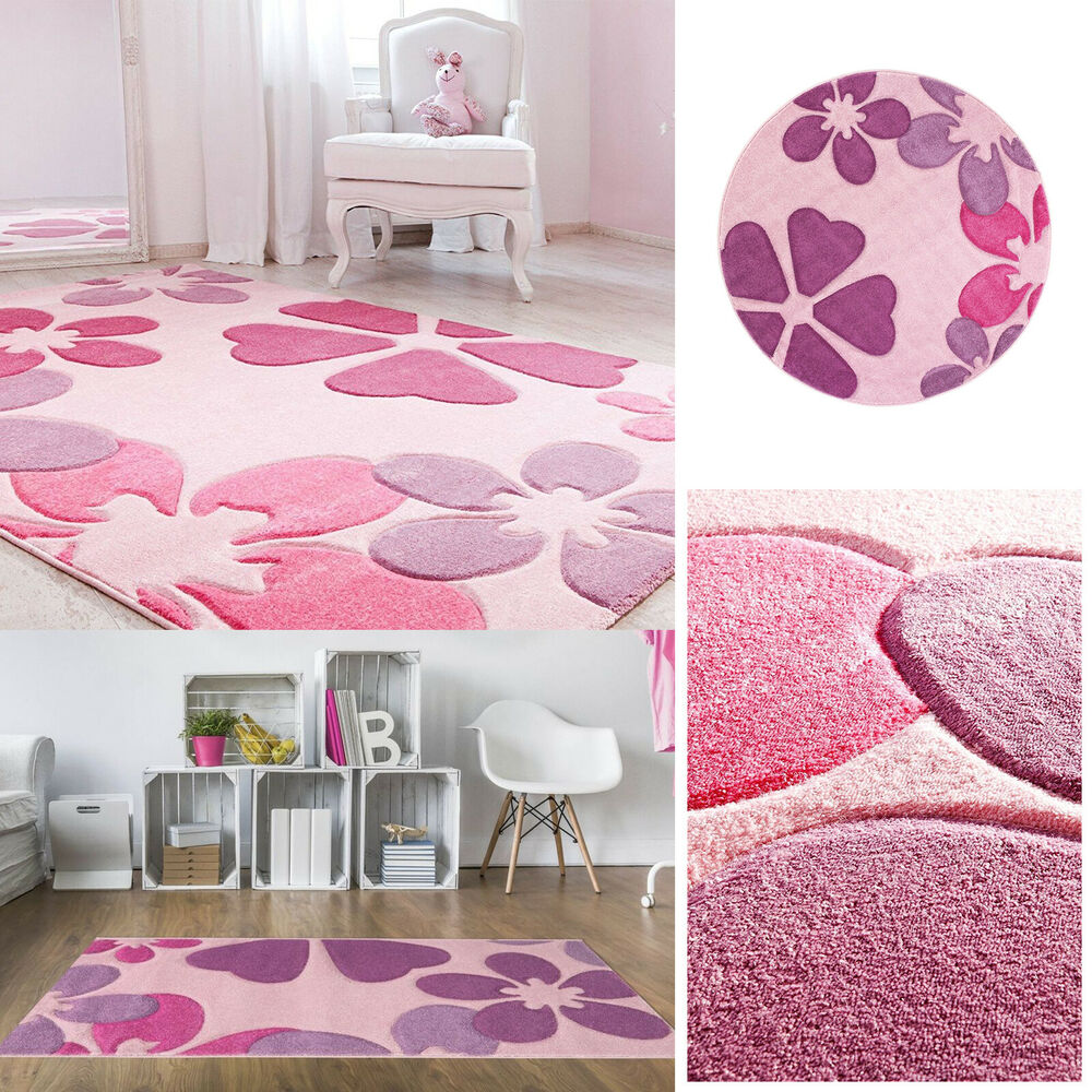 kinderteppich spielteppich kinderzimmer pink blumen rosa. Black Bedroom Furniture Sets. Home Design Ideas