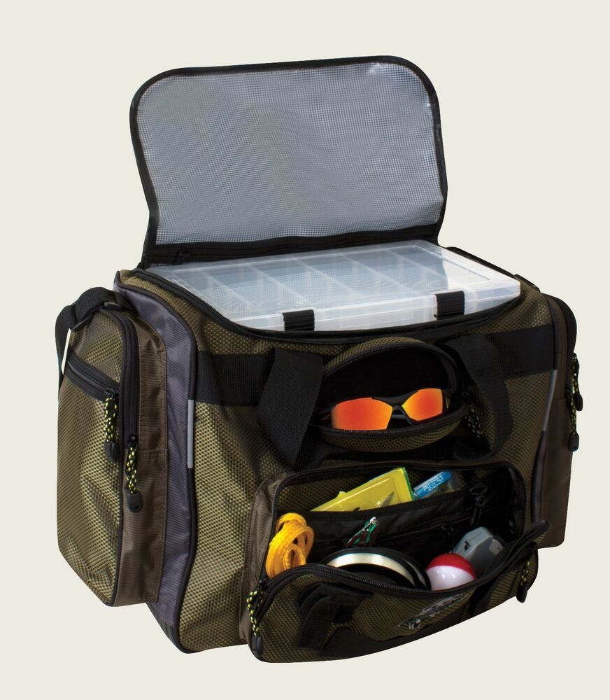 Okeechobee fats deluxe large green fishing tackle bag for Large tackle boxes for fishing
