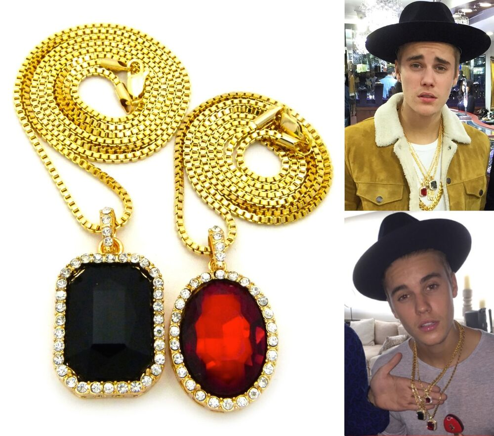 Mens iced out hip hop gold red ruby black onyx pendant box chain mens iced out hip hop gold red ruby black onyx pendant box chain necklace set ebay mozeypictures Choice Image