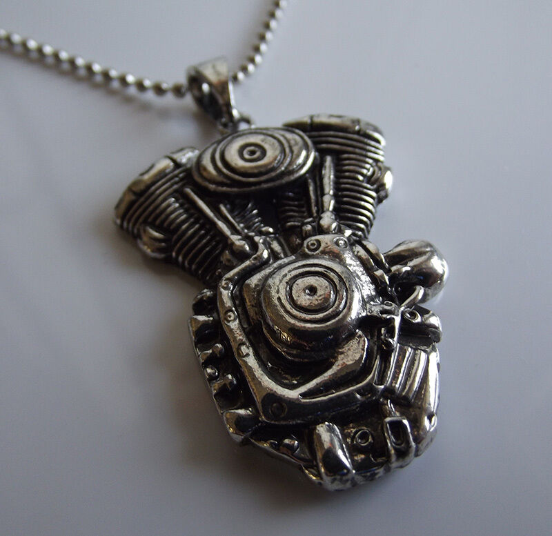 American Motor V Twin Engine Chain Necklace Motorcycle