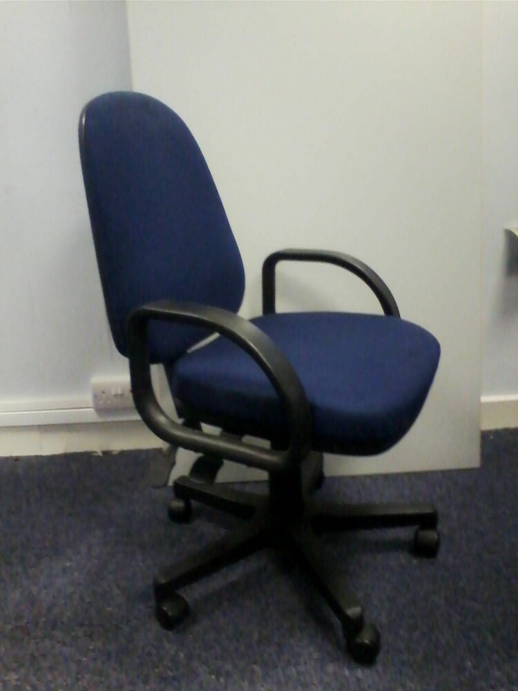 Computer Desk Chair Operator Chair Arms Dark Blue Bulk