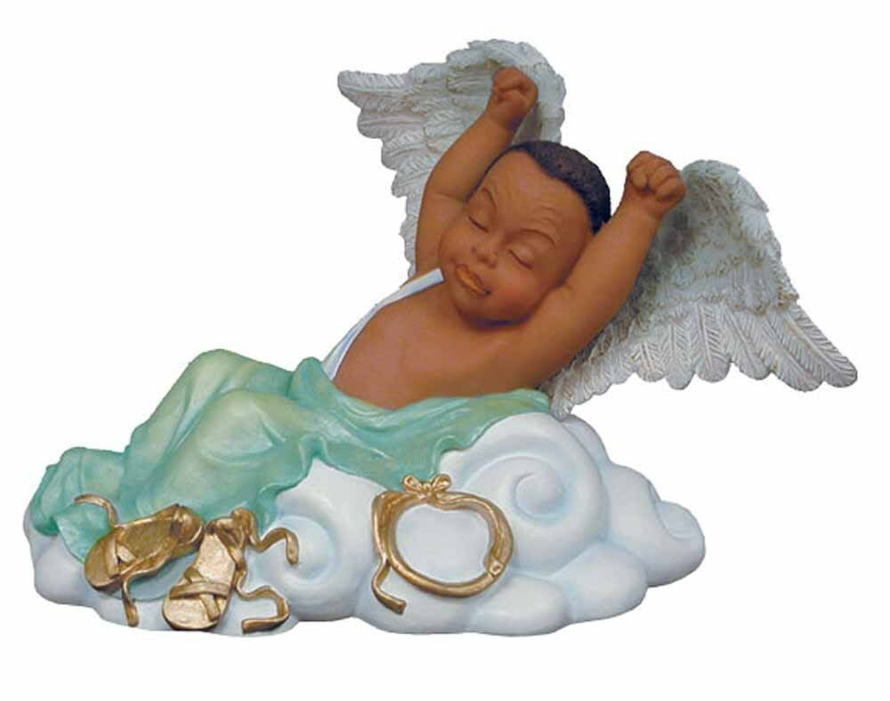 Lil Man Stretching Angel Baby African American Figurine