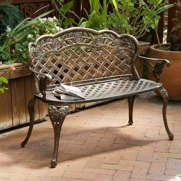Superieur Outdoor Patio Furniture Floral Design Antique Copper Cast Aluminum Garden  Bench 817056010682 | EBay