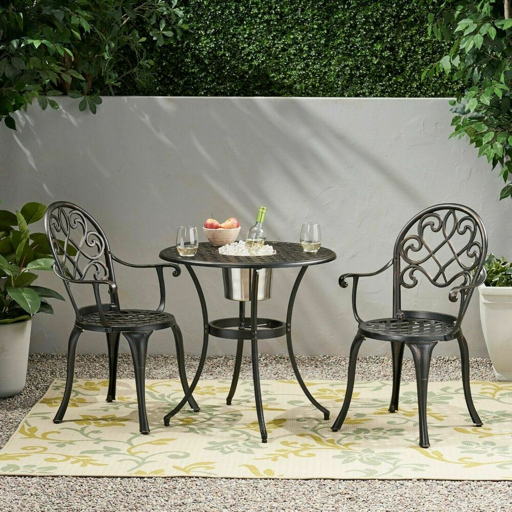 Outdoor Patio Furniture 3pc Copper Cast Aluminum Bistro
