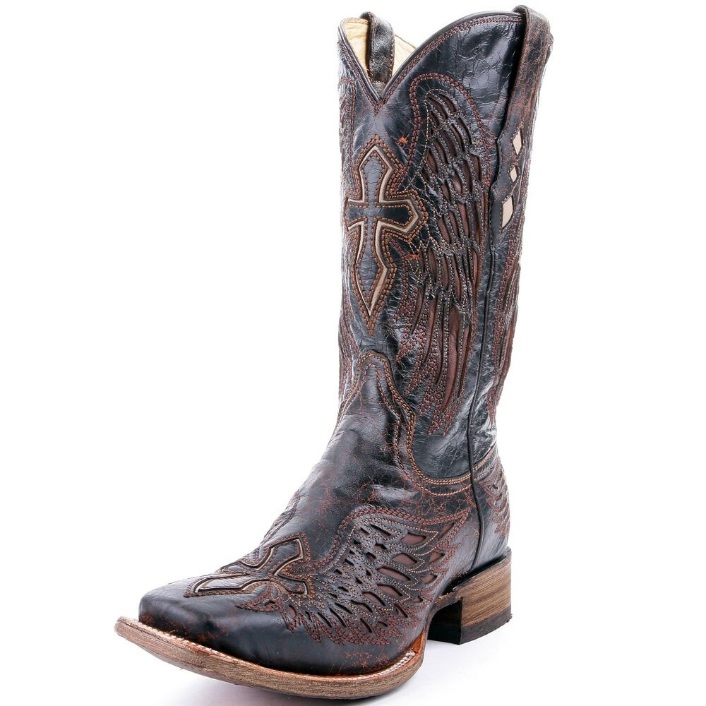 Corral Wing Amp Cross Mens Cowboy Boot Dark Brown With Tan