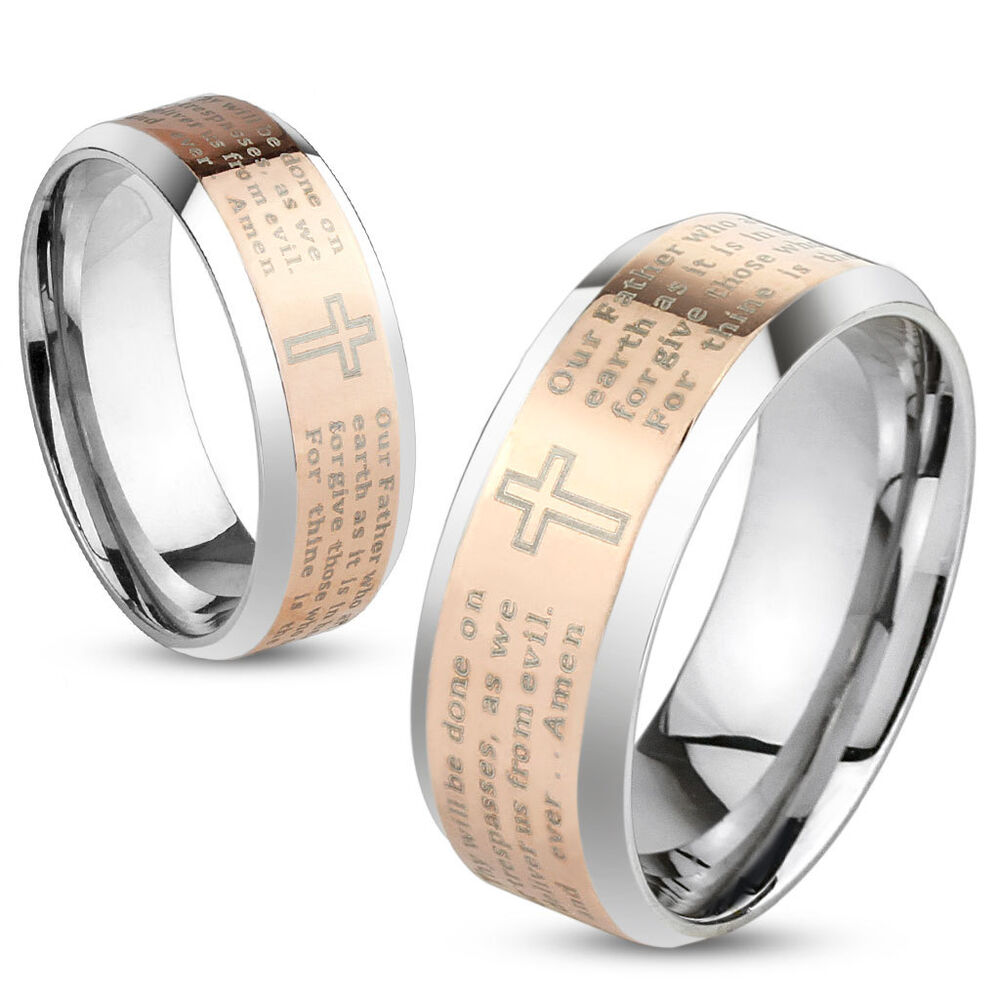 Lords Prayer Cross Rose Gold IP Stainless Steel Wedding Band Couple Mens Ring