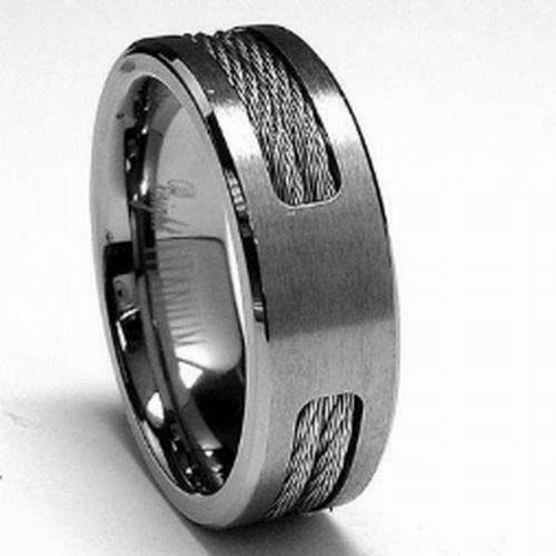 Rubber Wedding Rings For Men >> Titanium Men's Ring Wedding band Stainless steel Cable Inlay sizes 7-12 Fashion | eBay
