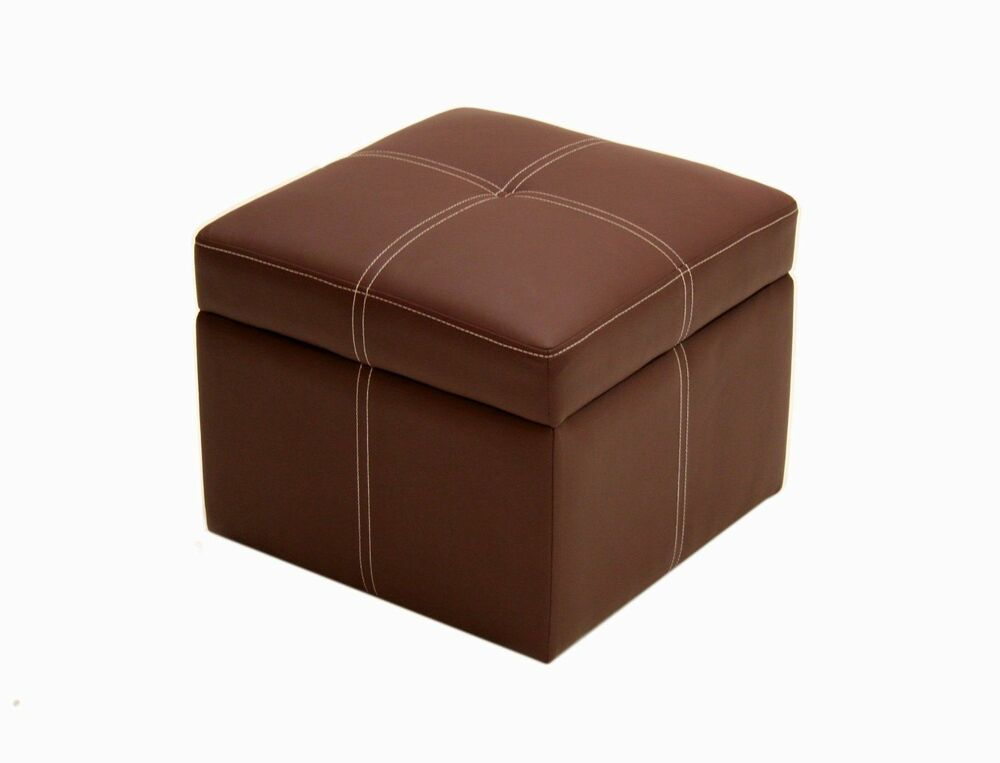 Ottoman Footstool Foot Stool Storage Box Organizer Brown