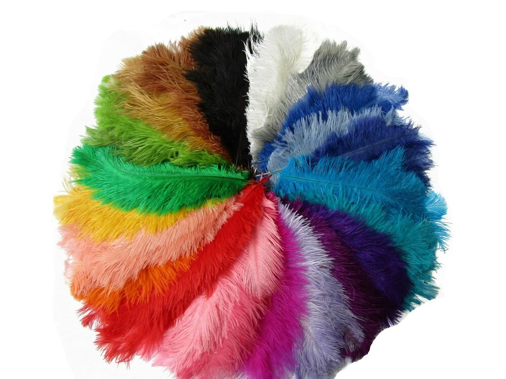 Pack of 10 ostrich feathers craft fancy dress sewing for Where can i buy feathers for crafts