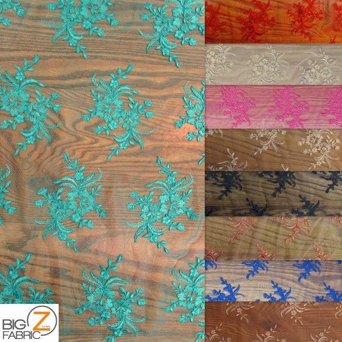 Gorgeous floral embroidery bridal dress lace fabric by the for Wedding dress fabric store