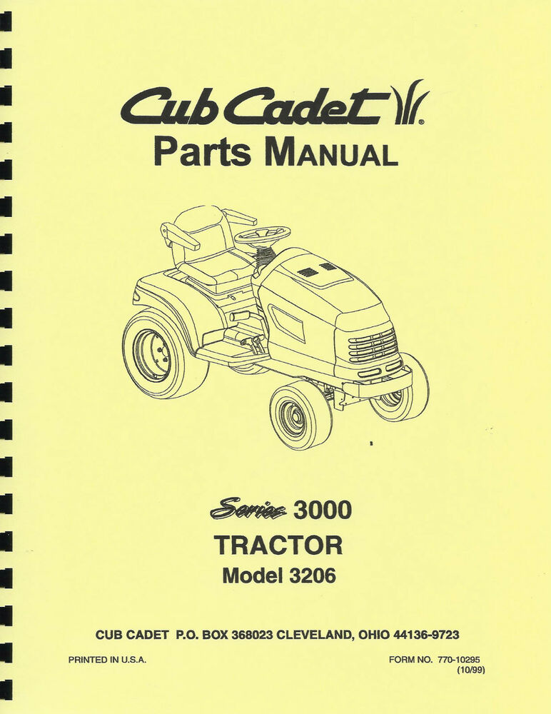 Cub cadet 3206 tractor parts manual ebay