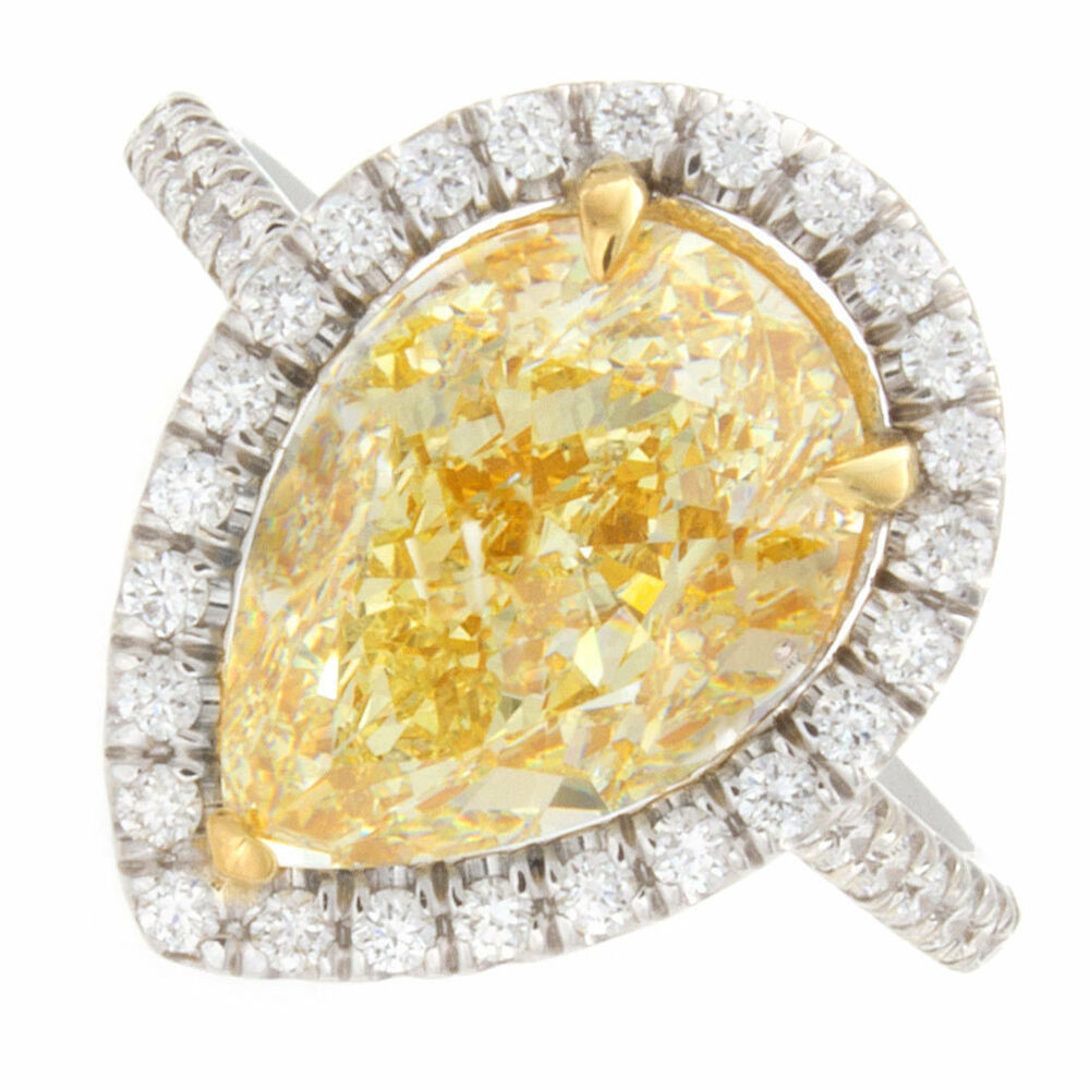 pear cut fancy yellow pav diamond engagement ring ebay. Black Bedroom Furniture Sets. Home Design Ideas