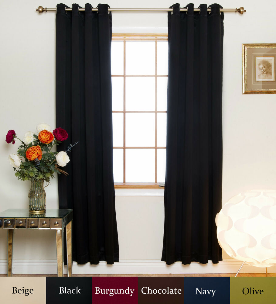 nickel grommet top insulated blackout curtain 120 inch length pair ebay. Black Bedroom Furniture Sets. Home Design Ideas