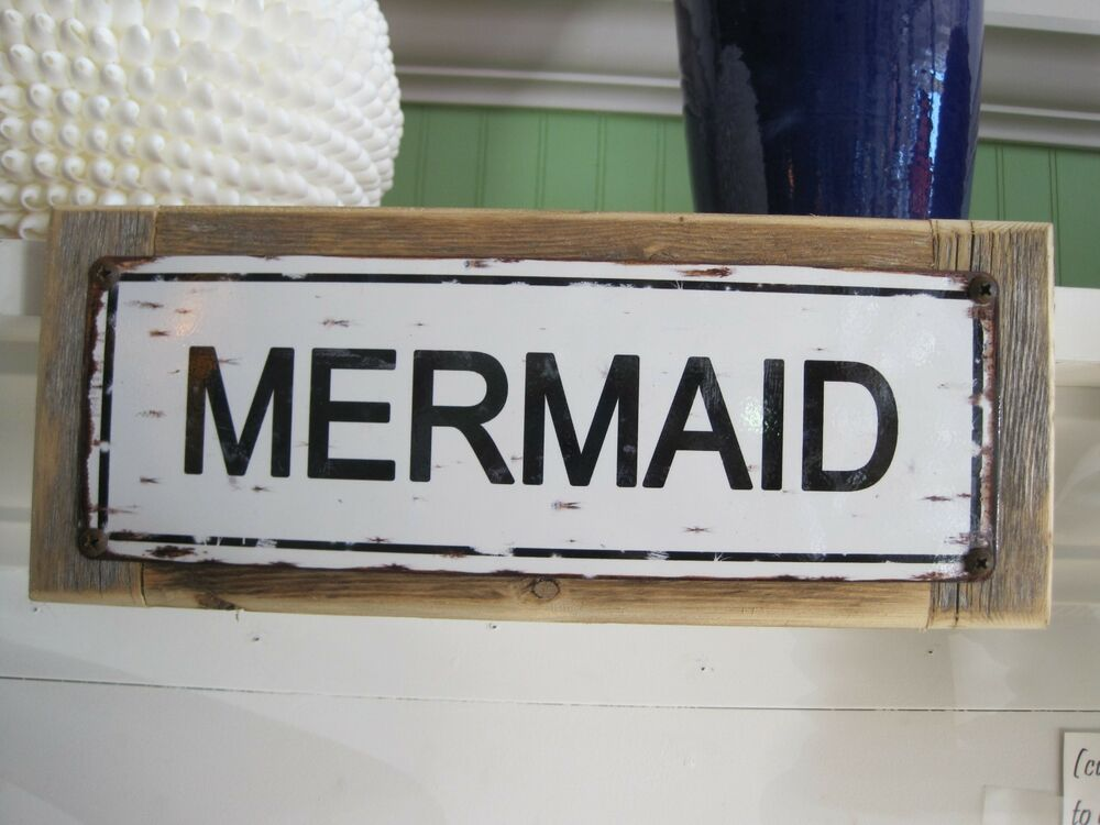 Mermaid custom wooden sign coastal home decor beach sign for Sign decoration