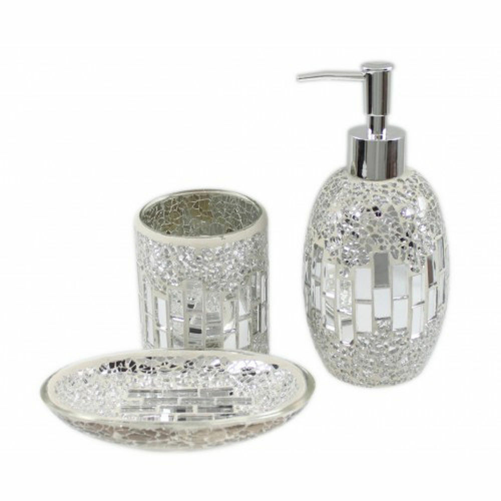 3 piece silver chrome mosaic glass bathroom set soap for Purple mosaic bathroom accessories