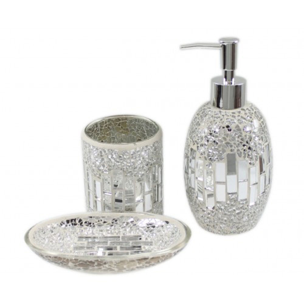 3 piece silver chrome mosaic glass bathroom set soap for Bathroom accessories glass