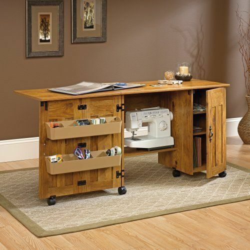 New sauder sewing machine craft table drop leaf shelves for Arts and crafts sewing machine