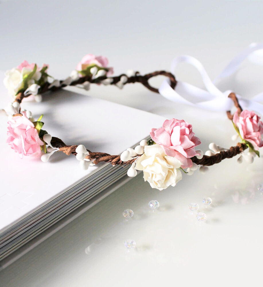 Pink Rose Floral Crown Flower Girl Flower Crown Bridesmaid Garland Wedding