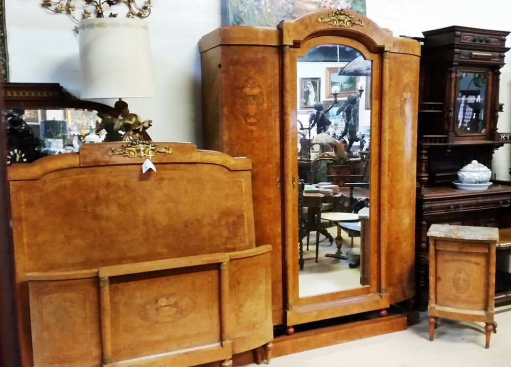 antique art deco french armoire bed 2 pc suite ebay. Black Bedroom Furniture Sets. Home Design Ideas