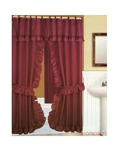 Double Swag Shower Curtain With Liner Set Burgundy 70x72 Ebay