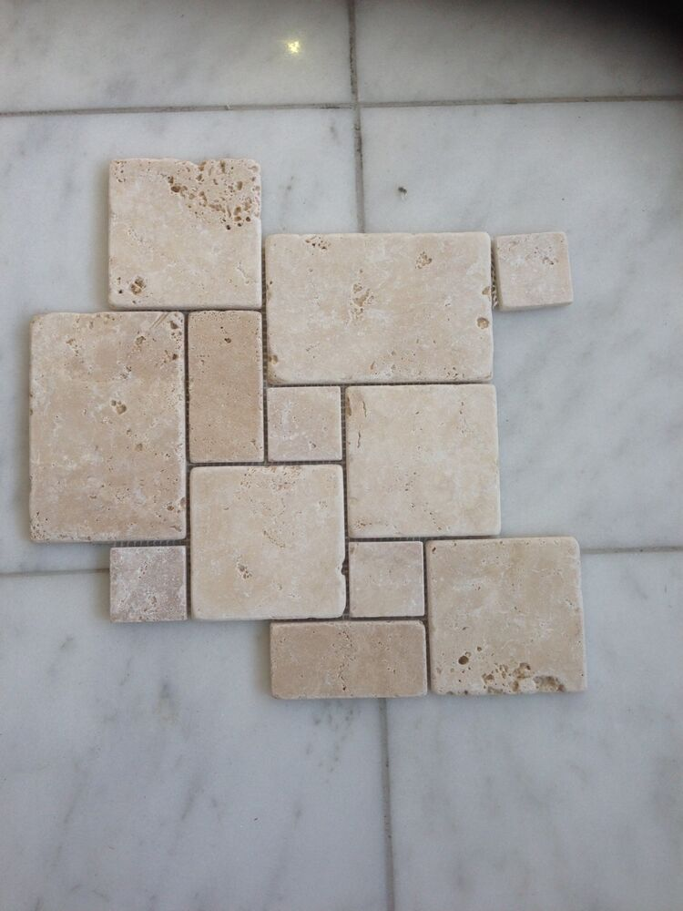 Travertine tumbled mini french pattern set tile wall for Tiles for balcony walls