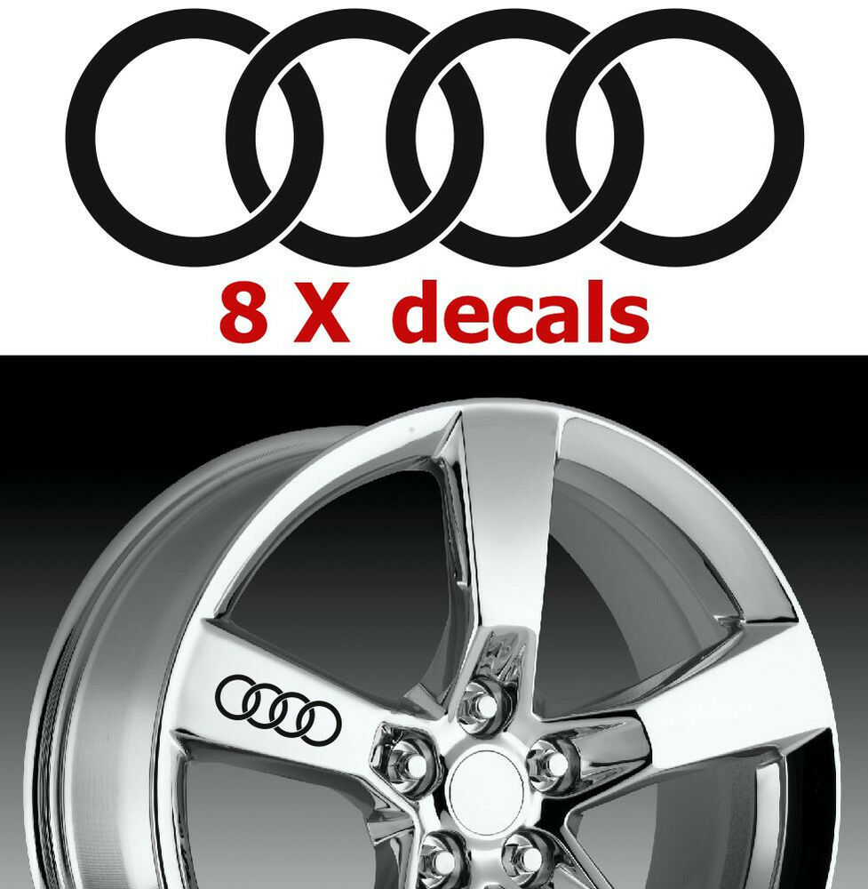 8 X Audi Rings #2 Wheels Decals Stickers Graphics Emblems