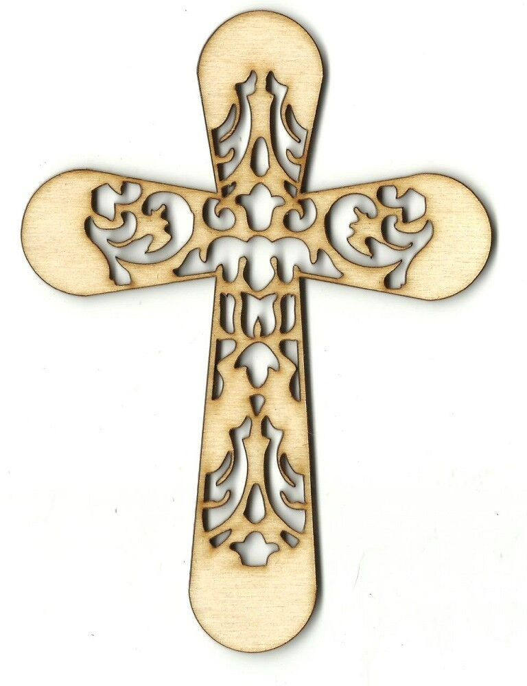 Cross unfinished wood shapes craft supply laser cut outs for Wood cutouts for crafts