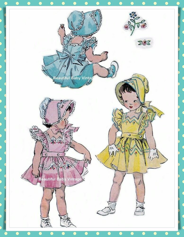 Vintage Simplicity 1950s Sewing Pattern Baby Toddler Dress