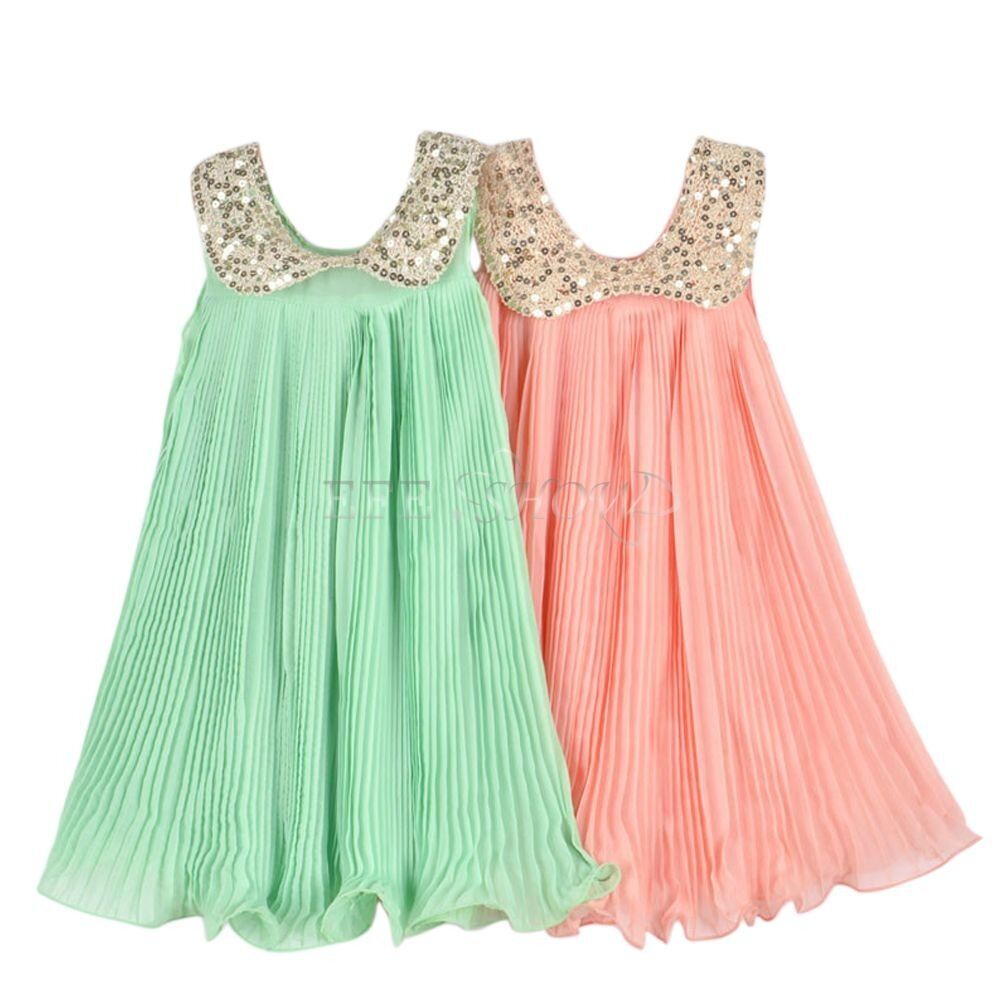 Girl Kids Baby Toddler Chiffon Sequin Pleated Party Dress