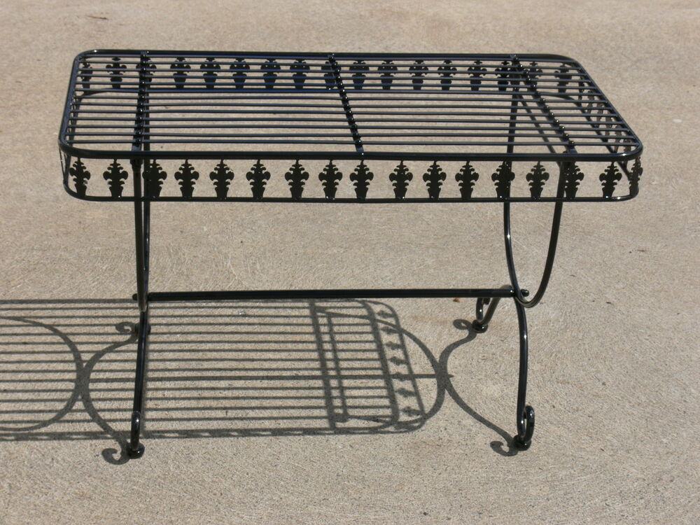 French Design Garden Coffee Table Black Wrought Iron Quality Superb Ebay