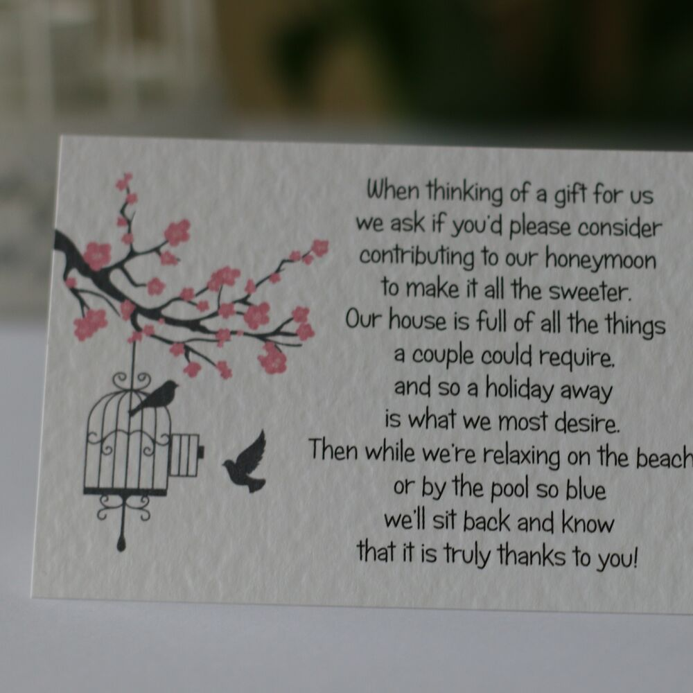 Blossom wedding gift poem cards money cash gift honeymoon for What to ask for wedding registry