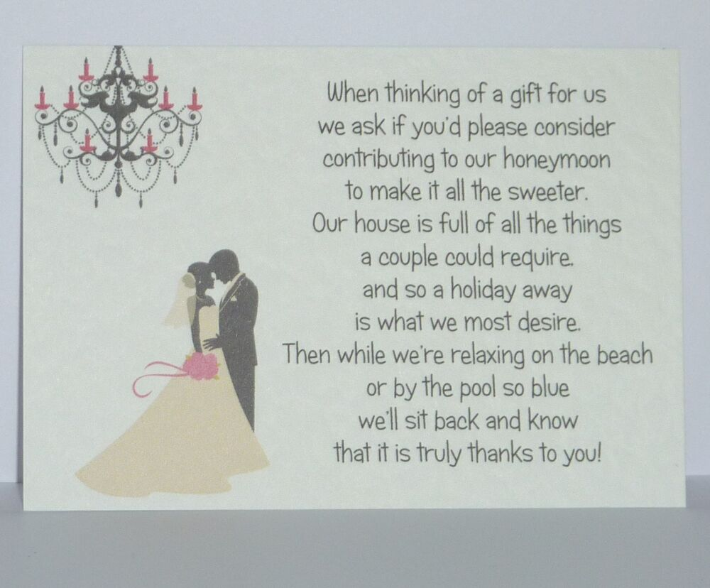 How To Give Money As A Wedding Gift: Wedding Poem Cards