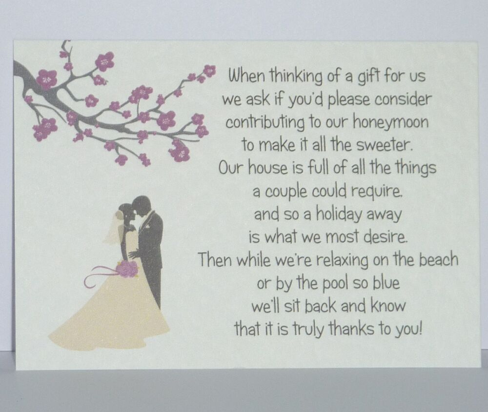 Wedding Gift Wording For Honeymoon: Blossom Silhouette Wedding Gift Poem Cards Honeymoon Money
