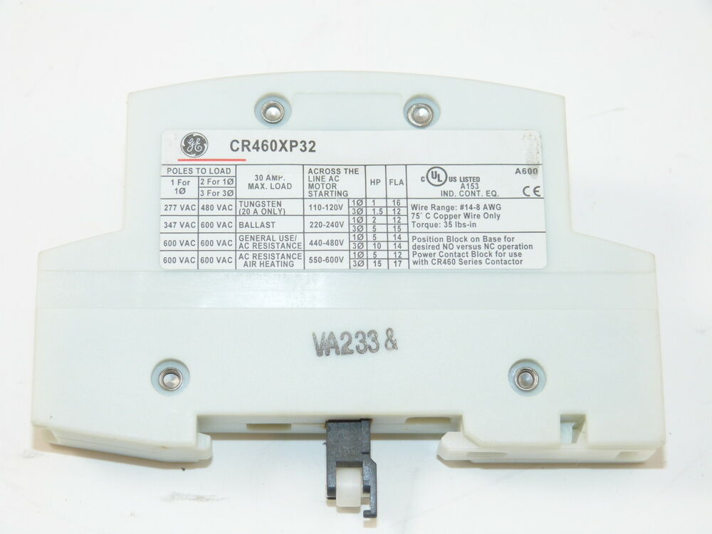 GE CR460XP32 Power Pole  2Pole For Lighting Contactor   eBay