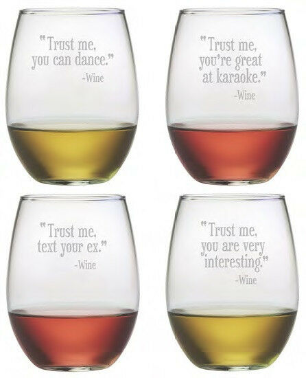 Stemless wine glasses trust me set 4 hand etched gifts funny quotes bff gifts ebay - Funny wine glasses uk ...